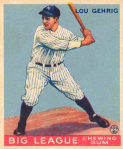 Gehrig 1933 Goudey baseball card.