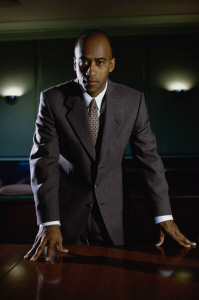 man in suit leading